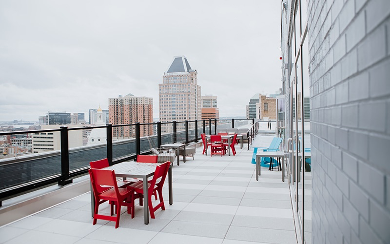 Spacious roof top patio with a nice view of the city