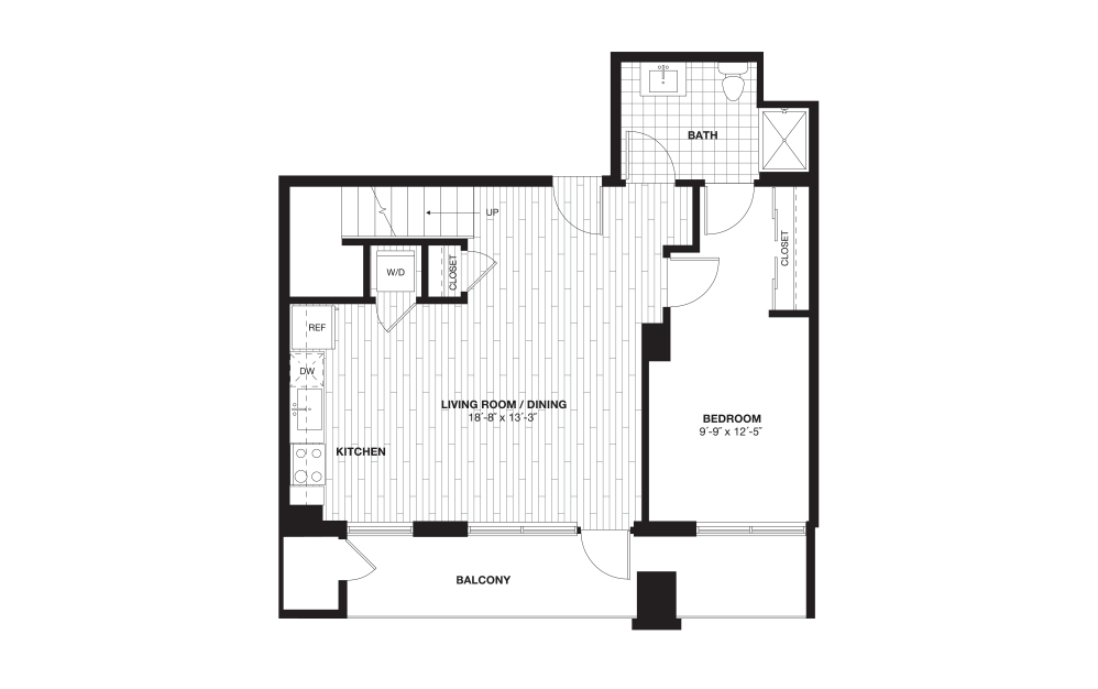 A10L - 1 bedroom floorplan layout with 1 bath and 996 square feet. (Floor 1)