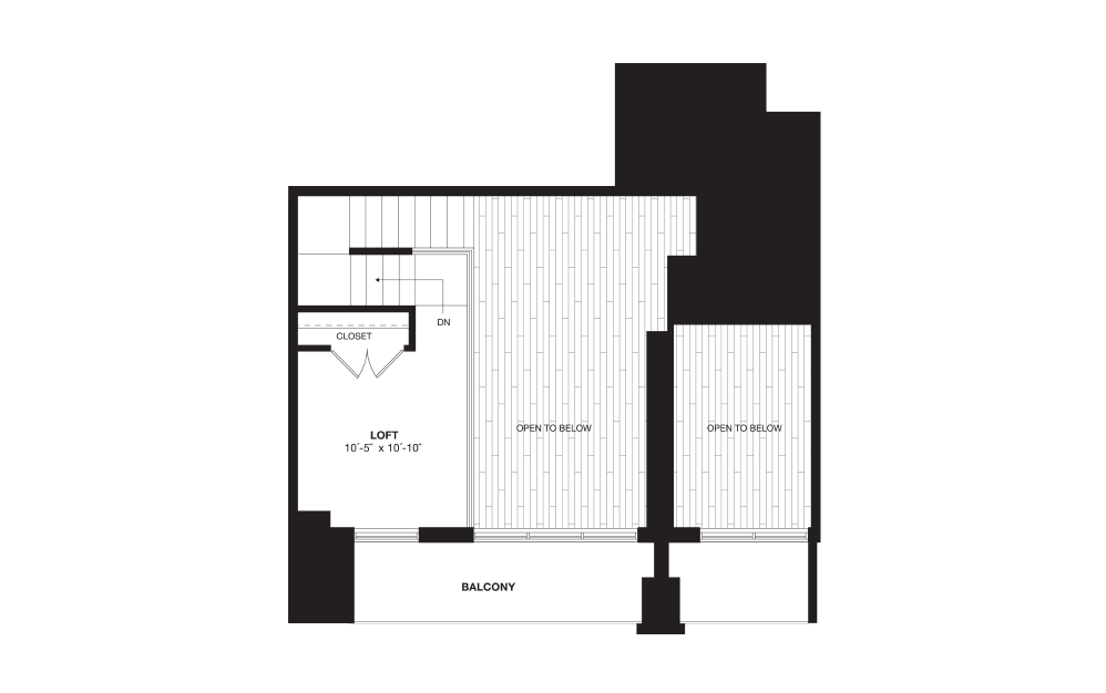 A10L - 1 bedroom floorplan layout with 1 bath and 996 square feet. (Floor 2)