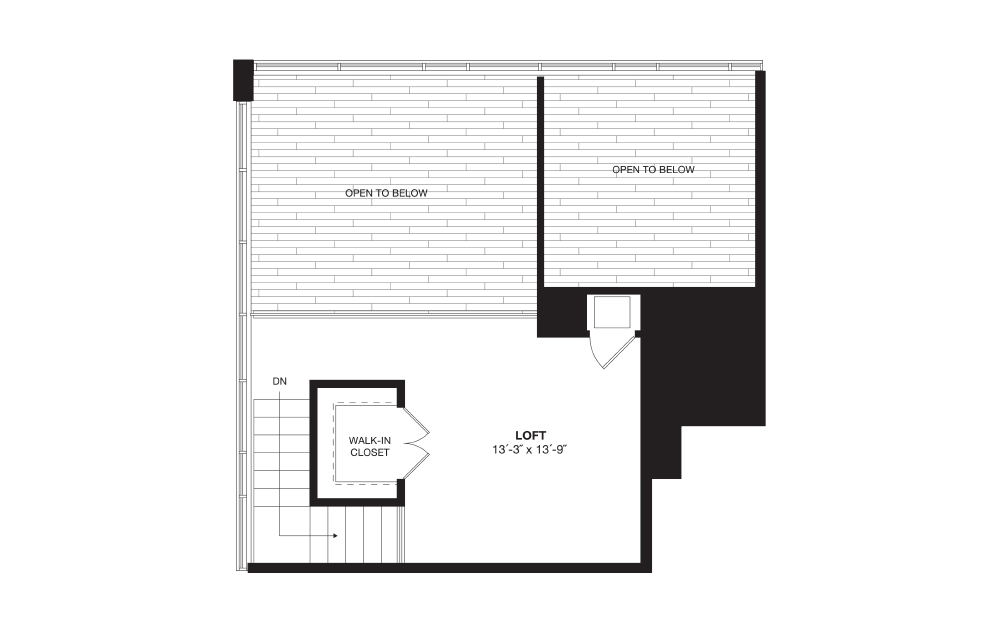 A11L - 1 bedroom floorplan layout with 1 bath and 1005 square feet. (Floor 2)
