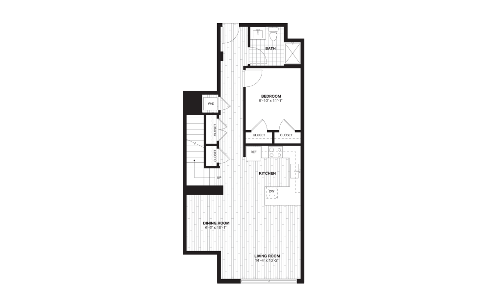 A12L - 1 bedroom floorplan layout with 1 bath and 1130 square feet. (Floor 1)
