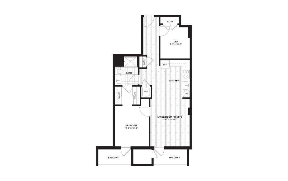 A13DL - 1 bedroom floorplan layout with 1 bath and 874 square feet.