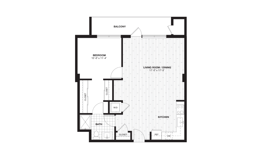A1 - 1 bedroom floorplan layout with 1 bath and 810 square feet.