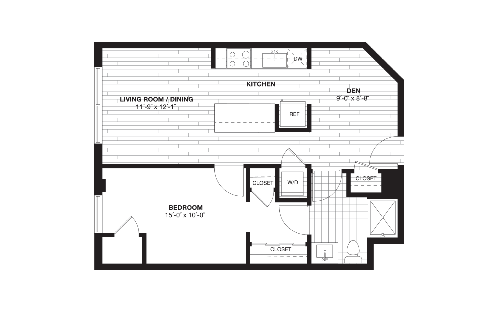 A3AD - 1 bedroom floorplan layout with 1 bath and 734 square feet.