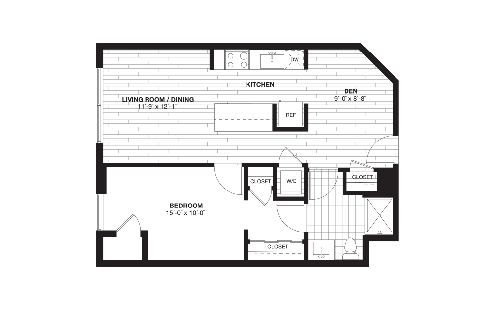 A3BD - 1 bedroom floorplan layout with 1 bath and 734 square feet.
