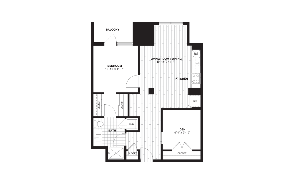 A4D - 1 bedroom floorplan layout with 1 bath and 856 square feet.