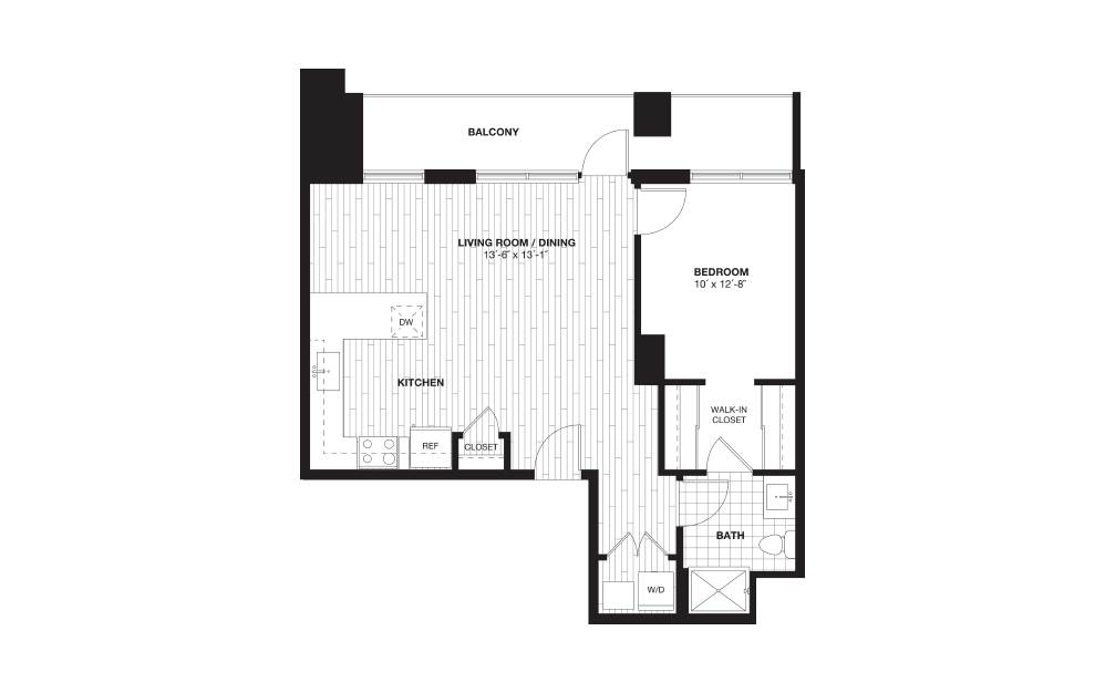 A5L - 1 bedroom floorplan layout with 1 bath and 775 square feet.