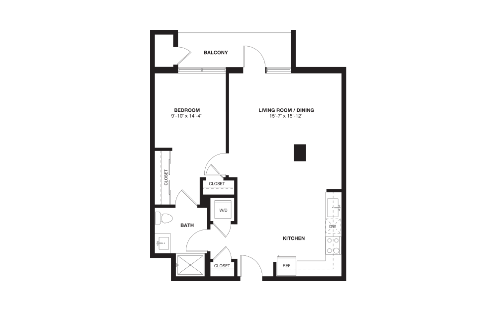 A6L - 1 bedroom floorplan layout with 1 bath and 783 square feet.