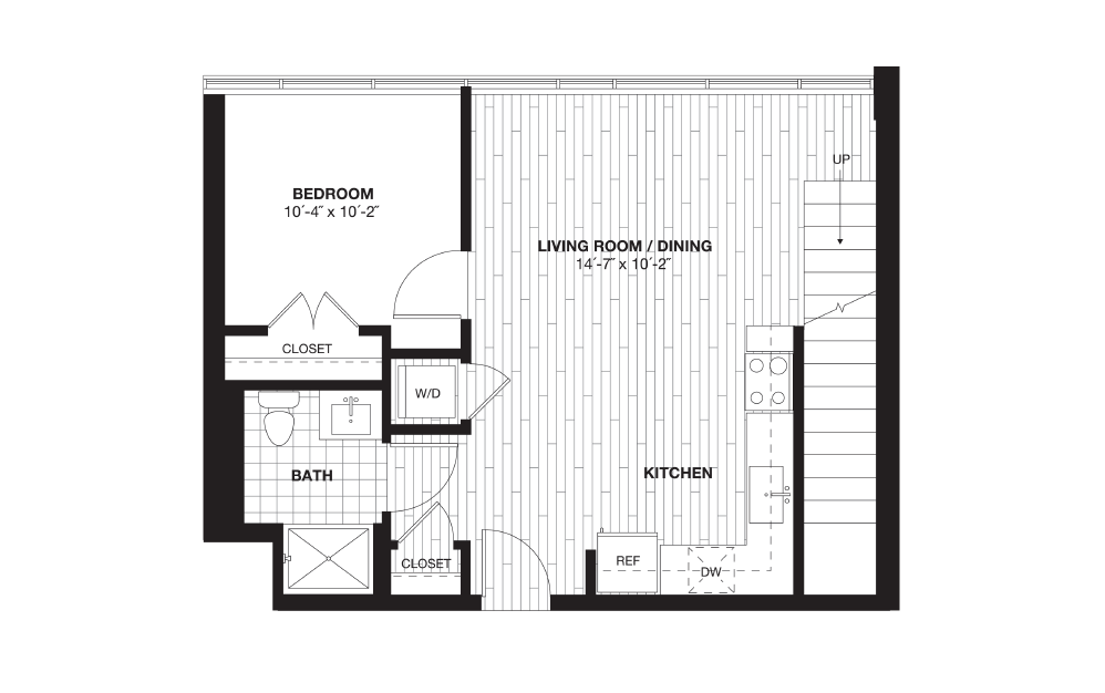 A8L - 1 bedroom floorplan layout with 1 bath and 945 square feet. (Floor 1)
