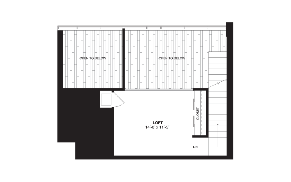 A8L - 1 bedroom floorplan layout with 1 bath and 945 square feet. (Floor 2)