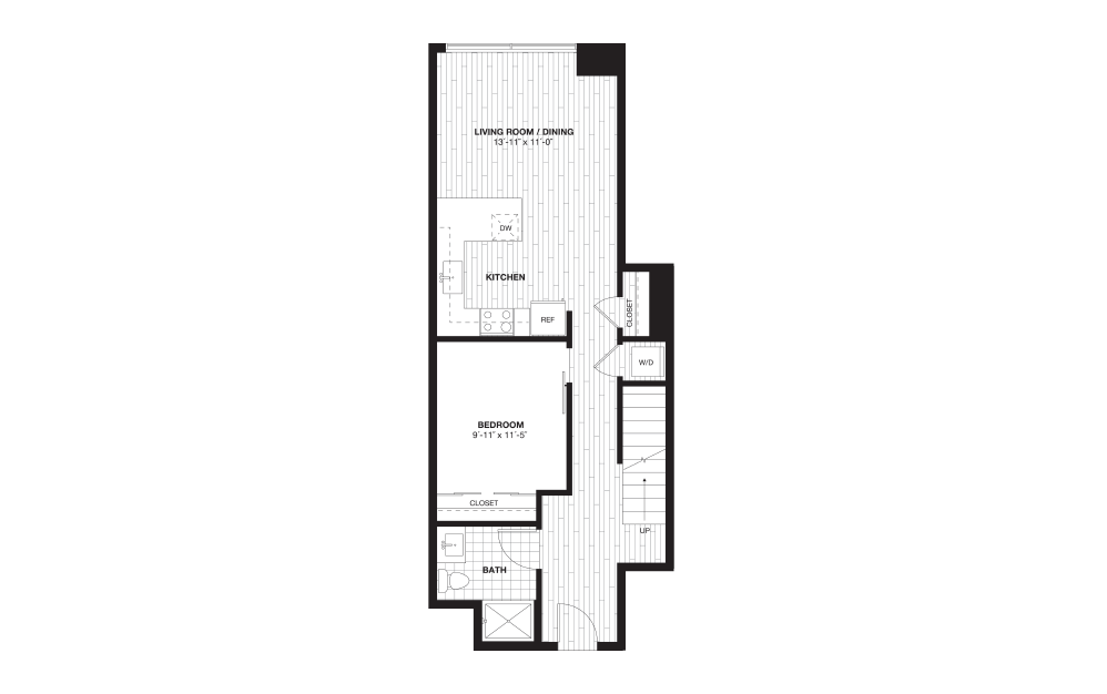 A9L - 1 bedroom floorplan layout with 1 bath and 975 square feet. (Floor 1)