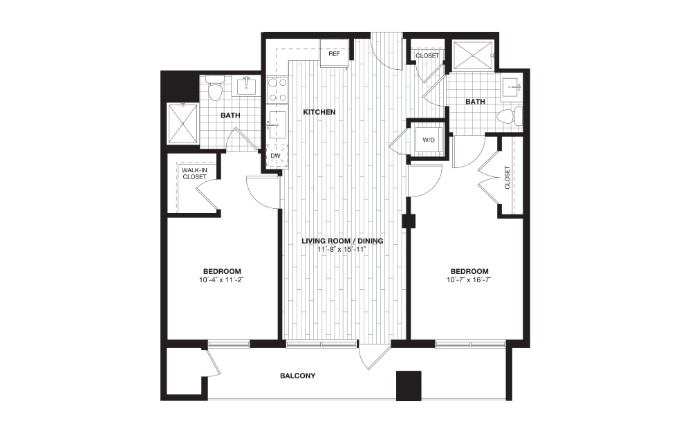 B1B - 2 bedroom floorplan layout with 2 baths and 978 square feet.