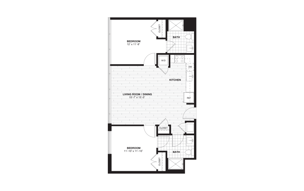 B4L - 2 bedroom floorplan layout with 2 baths and 946 square feet.