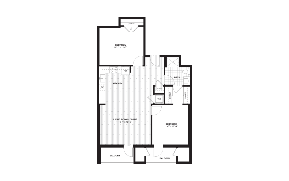 B6L - 2 bedroom floorplan layout with 1 bath and 1053 square feet.
