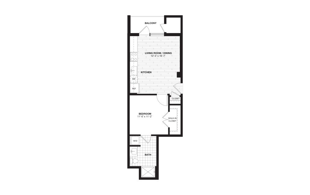 S1 - 1 bedroom floorplan layout with 1 bath and 572 square feet.