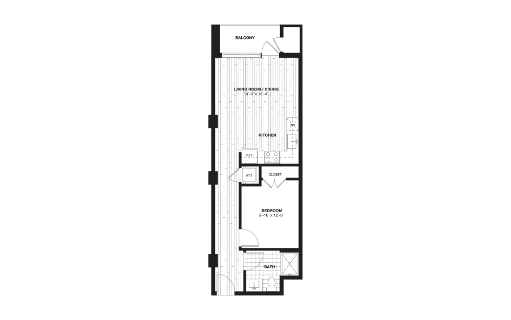 S2A - 1 bedroom floorplan layout with 1 bath and 626 square feet.