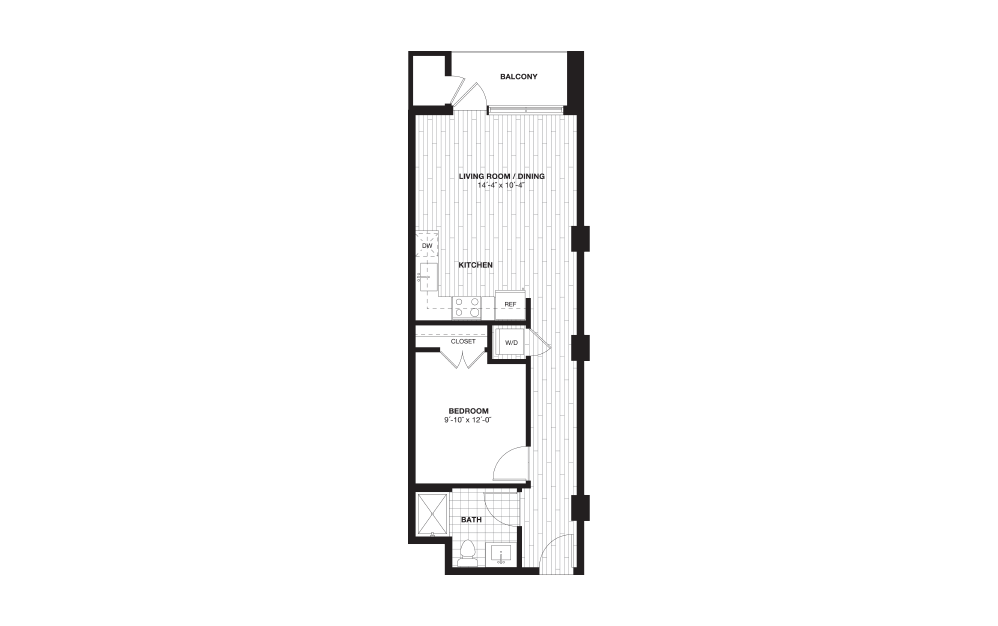 S2B - 1 bedroom floorplan layout with 1 bath and 626 square feet.