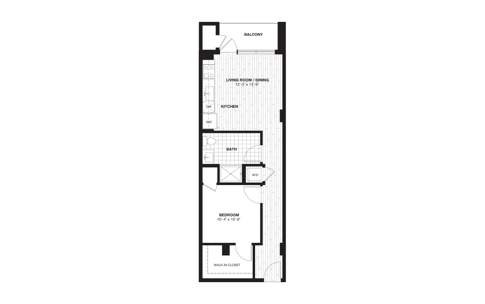 S3 - 1 bedroom floorplan layout with 1 bath and 626 square feet.