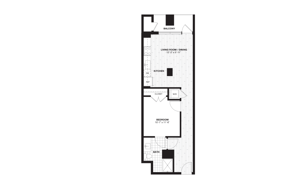 S4B - 1 bedroom floorplan layout with 1 bath and 630 square feet.