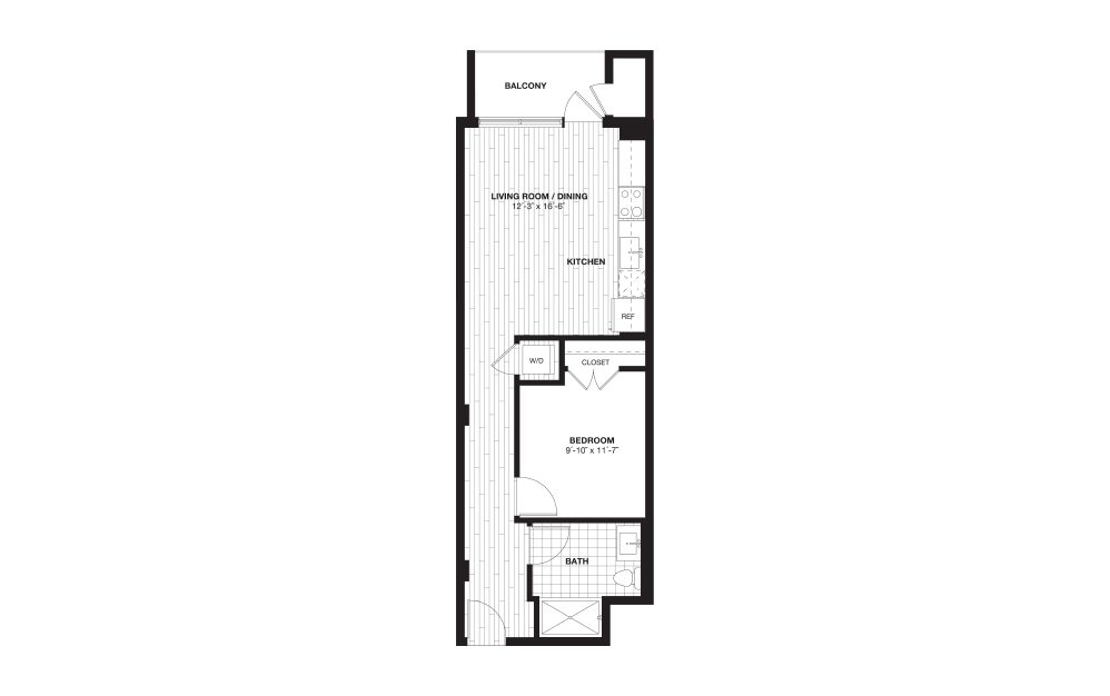 S5 - 1 bedroom floorplan layout with 1 bath and 630 square feet.