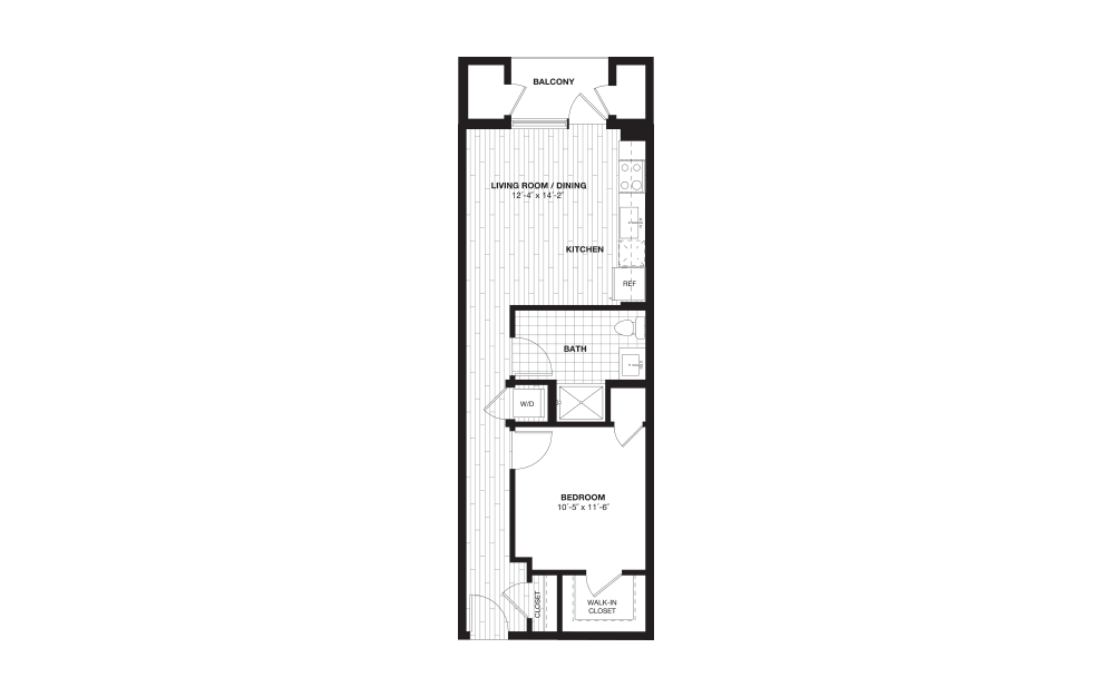 S6A - 1 bedroom floorplan layout with 1 bath and 630 square feet.