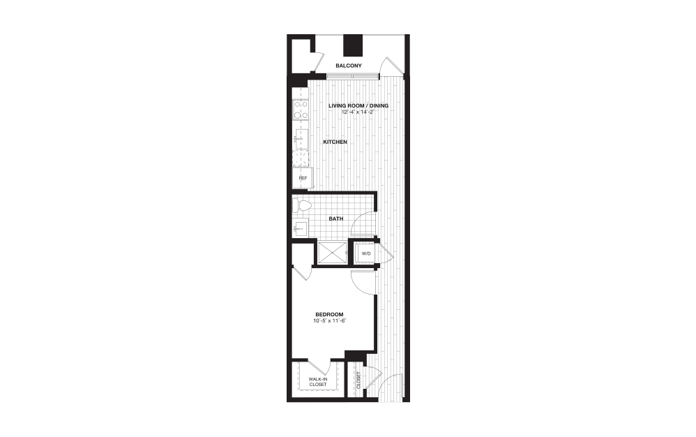 S6B - 1 bedroom floorplan layout with 1 bath and 630 square feet.