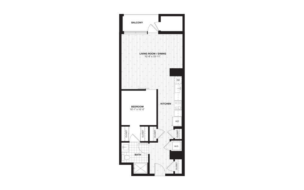 S7A - 1 bedroom floorplan layout with 1 bath and 749 square feet.