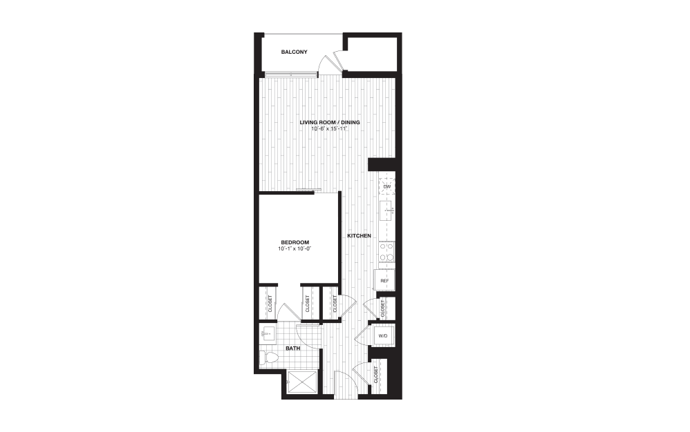 S7B - 1 bedroom floorplan layout with 1 bath and 749 square feet.
