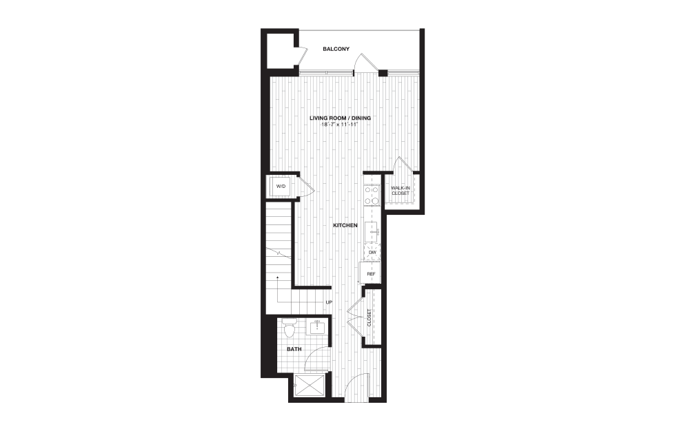 S8L - 1 bedroom floorplan layout with 1 bath and 722 square feet. (Floor 1)