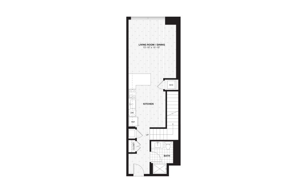 S9AL - 1 bedroom floorplan layout with 1 bath and 888 square feet. (Floor 1)