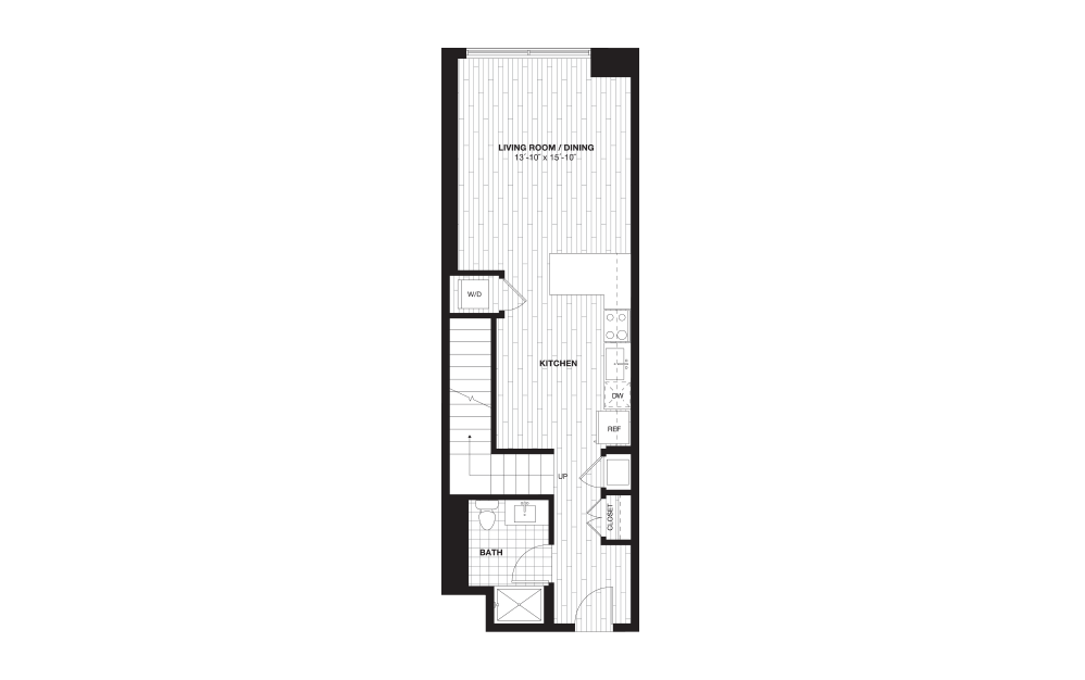 S9BL - 1 bedroom floorplan layout with 1 bath and 888 square feet. (Floor 1)